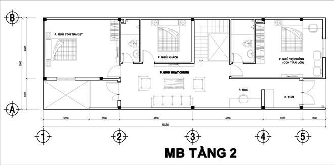 Thiết kế nhà ống 2 tầng 6x12m thoáng mát. 2