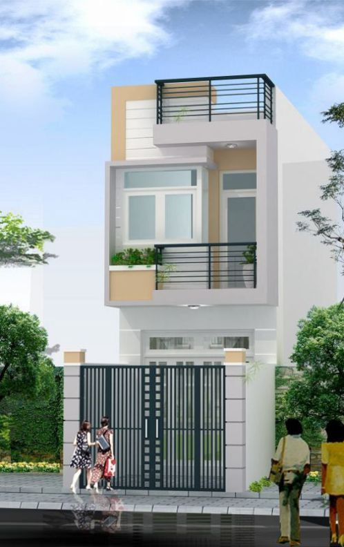 Mặt tiền mẫu thiết kế nhà ống 2 tầng cho gia đình nhỏ