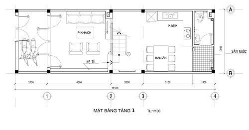 Bố trí mặt bằng công năng hợp lý của thiết kế nhà ống 2 tầng cho gia đình nhỏ - 1