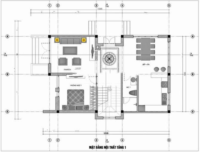 Thiết kế nhà ống 2 tầng hiện đại 7x13m. 1