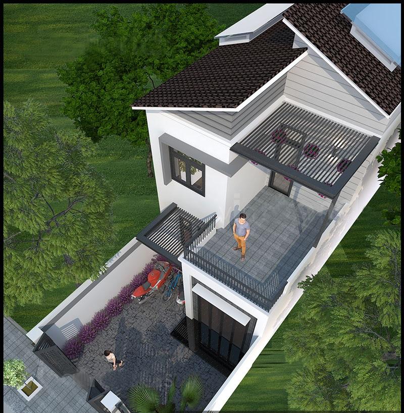 Thiết kế nhà ống 2 tầng mặt tiền 5,5m kiểu hiện đại - Phối cảnh 02