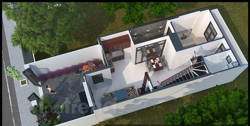 Thiết kế nhà ống 2 tầng mặt tiền 5,5m kiểu hiện đại - Phối cảnh 03