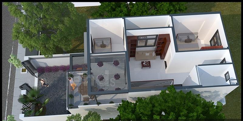 Thiết kế nhà ống 2 tầng mặt tiền 5,5m kiểu hiện đại - Phối cảnh 04