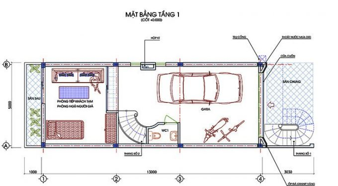 Mặt bằng thiết kế nhà ống 3 tầng 1 tum hiện đại -1