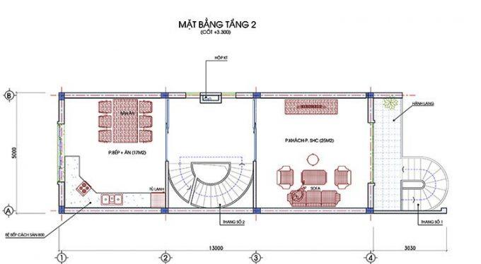 Mặt bằng thiết kế nhà ống 3 tầng 1 tum hiện đại -2