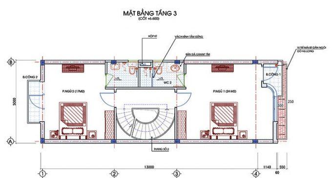 Mặt bằng thiết kế nhà ống 3 tầng 1 tum hiện đại -3
