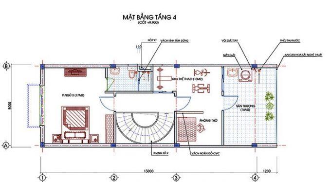 Mặt bằng thiết kế nhà ống 3 tầng 1 tum hiện đại -4