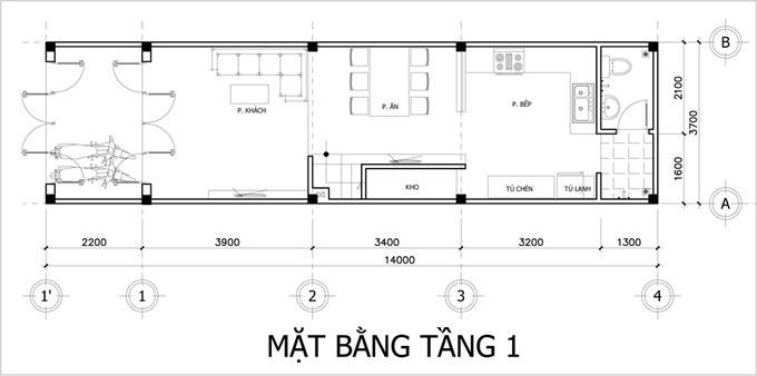 Mặt bằng công năng tầng 1 thiết kế nhà ống 3 tầng 3 phòng ngủ tiện nghi
