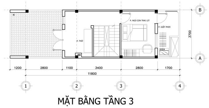Mặt bằng công năng tầng 3 thiết kế nhà ống 3 tầng 3 phòng ngủ tiện nghi