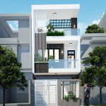 Thiết kế nhà ống 3 tầng 3 phòng ngủ kiểu hiện đại mái bằng