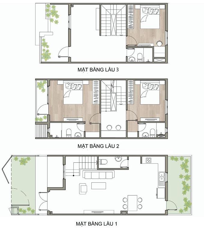 Mặt bằng thiết kế nhà ống 3 tầng 3 phòng ngủ