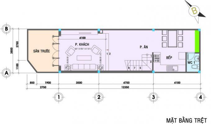 Mặt bằng mẫu thiết kế nhà ống 3 tầng 4 phòng ngủ hiện đại - 1