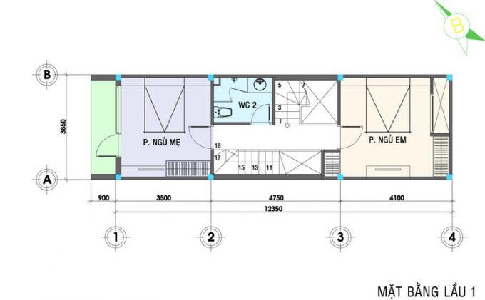 Mặt bằng mẫu thiết kế nhà ống 3 tầng 4 phòng ngủ hiện đại - 2