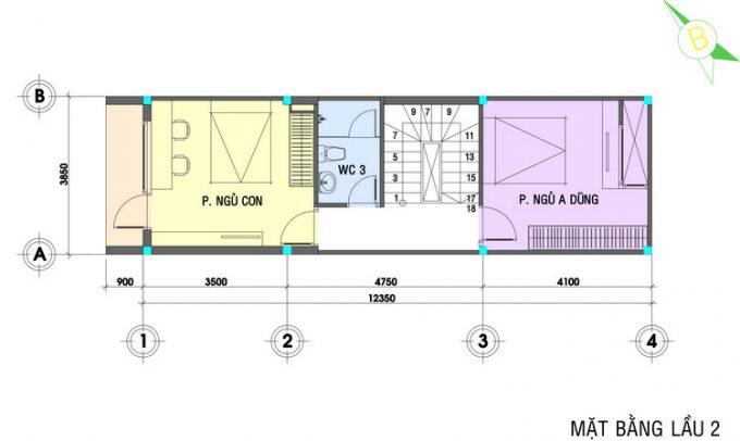 Mặt bằng mẫu thiết kế nhà ống 3 tầng 4 phòng ngủ hiện đại - 3