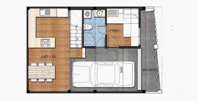 Công năng tầng 1 - Mẫu nhà ống 3 tầng 4 phòng ngủ có gara