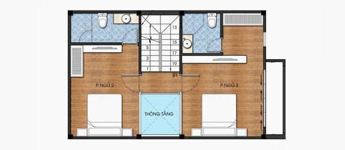 Tầng 2 - Mẫu thiết kế nhà ống đẹp 3 tầng 4 phòng ngủ hiện đại
