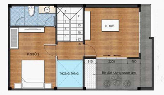 Mặt bằng tầng 3 - Mẫu thiết kế nhà ống đẹp 3 tầng 4 phòng ngủ