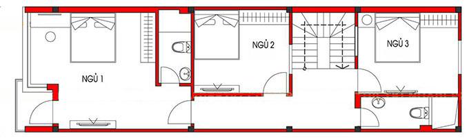 MB Tầng 2 - Nhà ống 3 tầng 5x15m 4 phòng ngủ