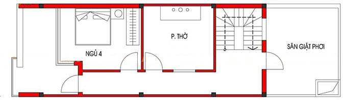 Tầng 3 - Mẫu nhà ống 3 tầng 5x15m 4 phòng ngủ