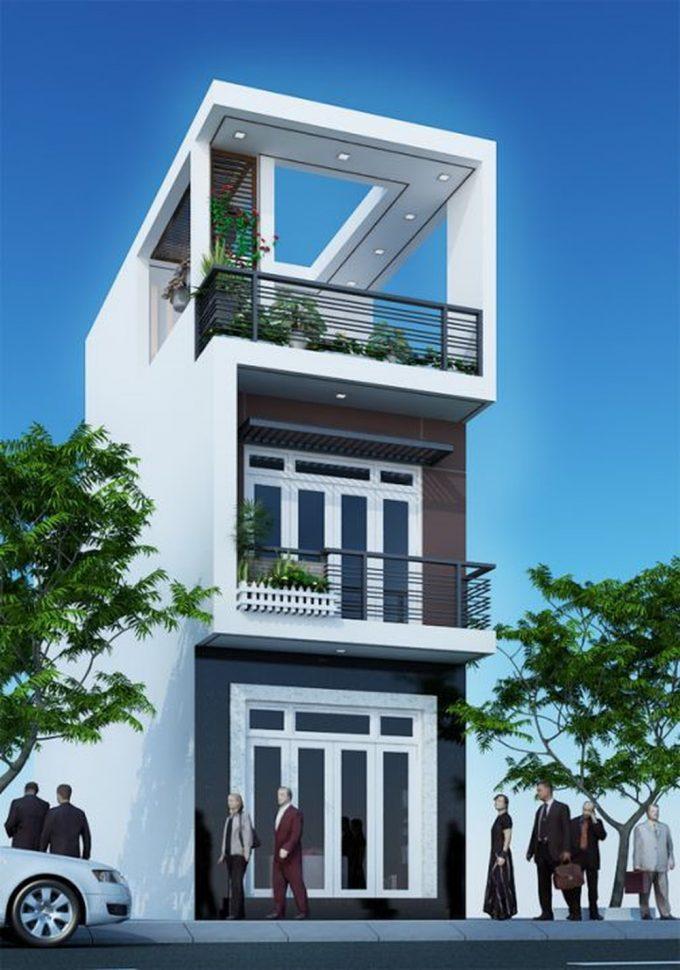Công trình thiết kế nhà ống 3 tầng ở Hà Nội - mặt tiền