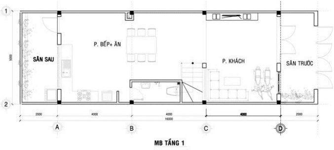 Công trình thiết kế nhà ống 3 tầng ở Hà Nội - mặt bằng tầng 1