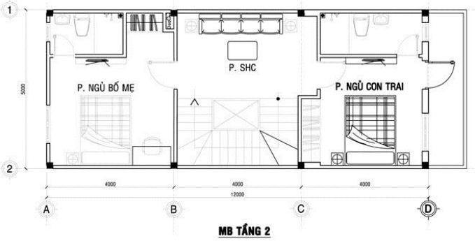 Công trình thiết kế nhà ống 3 tầng ở Hà Nội - mặt bằng tầng 2