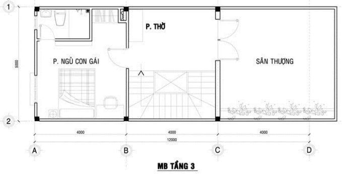 Công trình thiết kế nhà ống 3 tầng ở Hà Nội - mặt bằng tầng 3