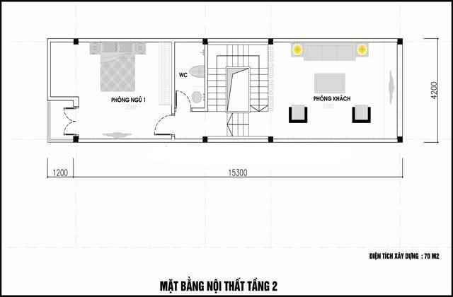 Mặt bằng công năng mẫu thiết kế nhà ống 3 tầng ấn tượng - 2