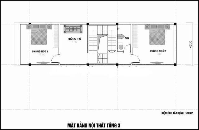 Mặt bằng công năng mẫu thiết kế nhà ống 3 tầng ấn tượng - 3