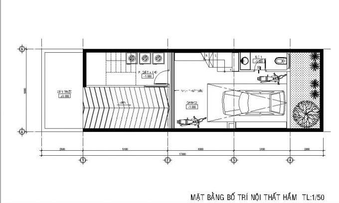 Mặt bằng công năng của thiết kế nhà ống 3 tầng có hầm - 1