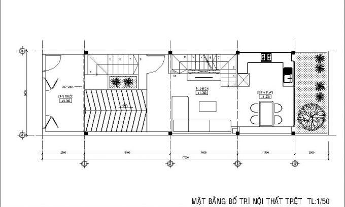 Mặt bằng công năng của thiết kế nhà ống 3 tầng có hầm - 2