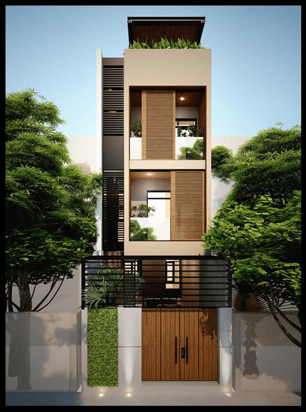 Phối cảnh mặt tiền thiết kế nhà ống 3 tầng đẹp nổi bật ở Vĩnh Phúc