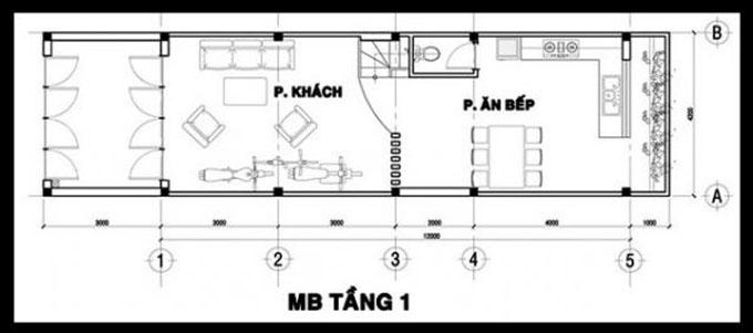 Mặt bằng công năng của thiết kế nhà ống 3 tầng phong cách hiện đại - 1