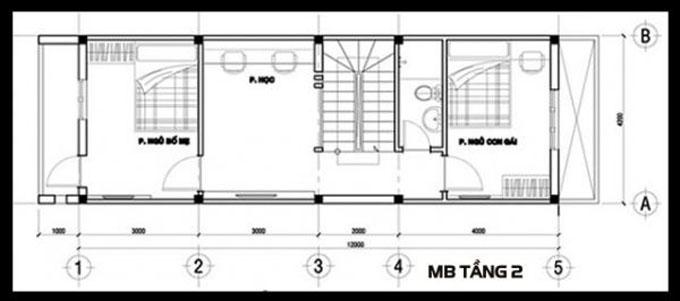 Mặt bằng công năng của thiết kế nhà ống 3 tầng phong cách hiện đại - 2