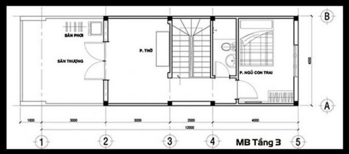 Mặt bằng công năng của thiết kế nhà ống 3 tầng phong cách hiện đại - 3