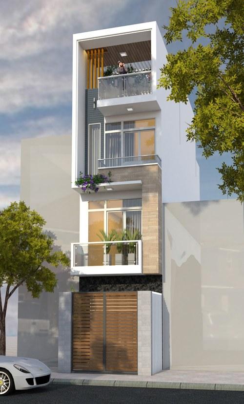Mặt tiền mẫu thiết kế nhà ống 3 tầng đẹp thoáng mát ở Hà Nội