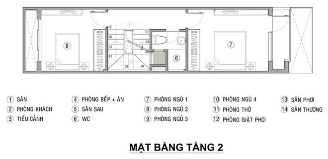 Mặt bằng mẫu thiết kế nhà ống 3 tầng đẹp thoáng mát - 2