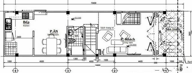 Mặt bằng mẫu thiết kế nhà ống 3 tầng giá rẻ hiện đại - 1