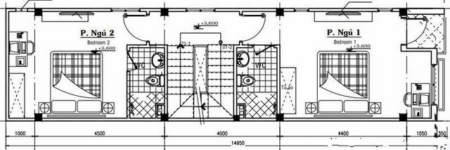 Mặt bằng mẫu thiết kế nhà ống 3 tầng giá rẻ hiện đại - 2