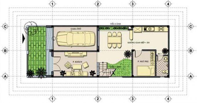 Mặt bằng công năng mẫu thiết kế nhà ống 3 tầng hiện đại - 1