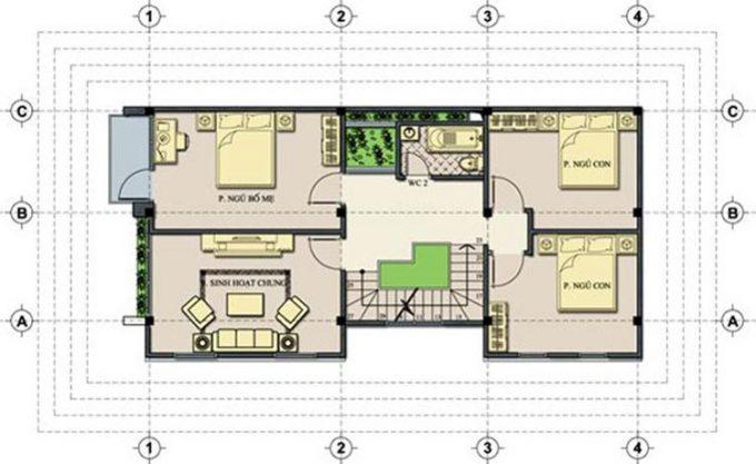 Mặt bằng công năng mẫu thiết kế nhà ống 3 tầng hiện đại - 2
