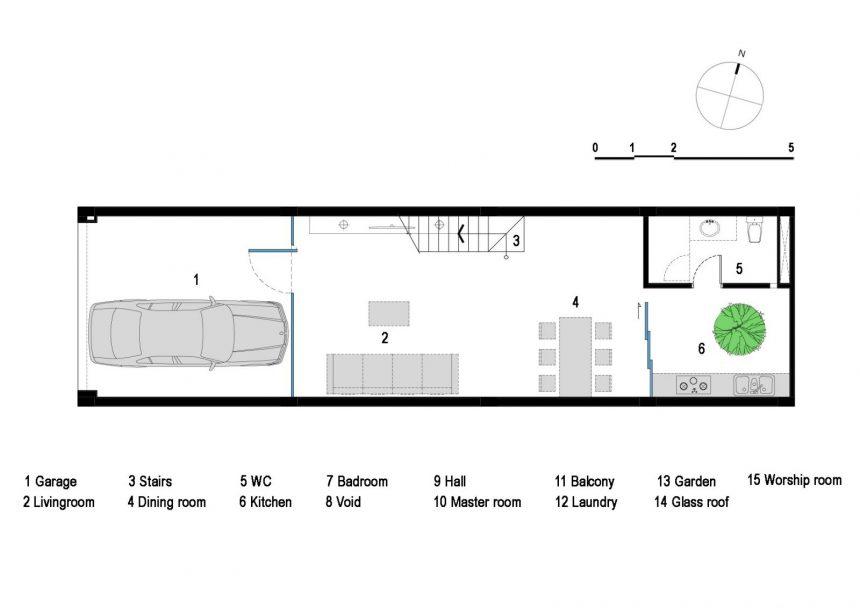 Mặt bằng mẫu thiết kế nhà ống 3 tầng hướng tây - tầng 1
