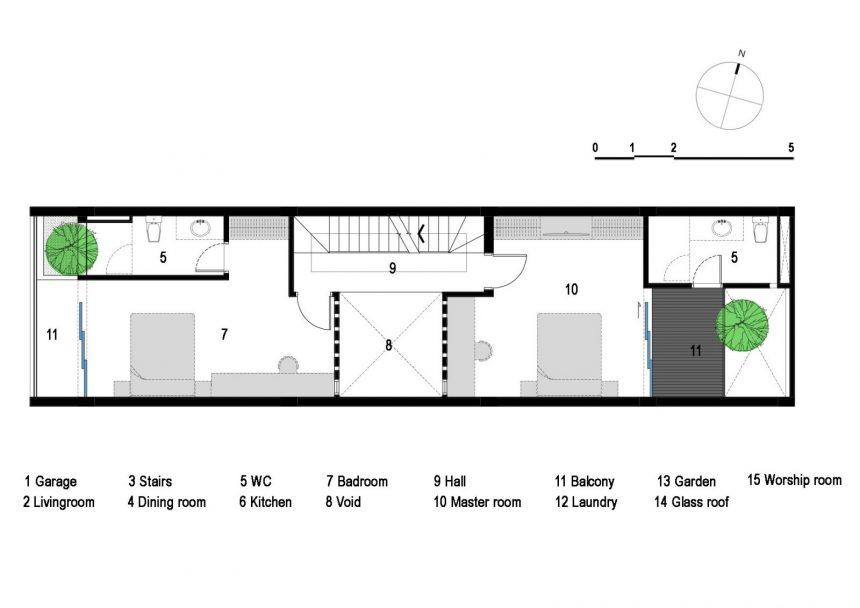 Mặt bằng mẫu thiết kế nhà ống 3 tầng hướng tây - tầng 2