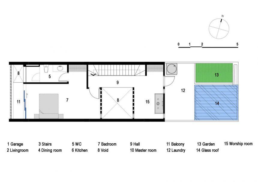 Mặt bằng mẫu thiết kế nhà ống 3 tầng hướng tây - tầng 3