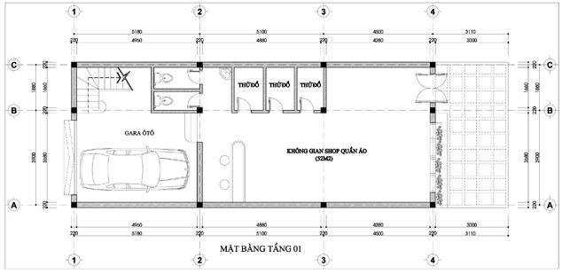 Mặt bằng công năng của thiết kế nhà ống 3 tầng kết hợp kinh doanh - 1