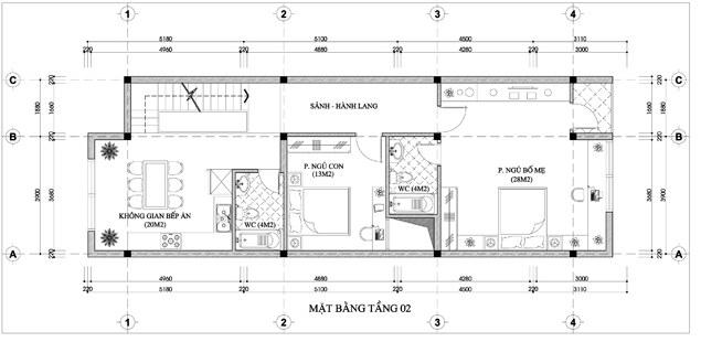Mặt bằng công năng của thiết kế nhà ống 3 tầng kết hợp kinh doanh - 2