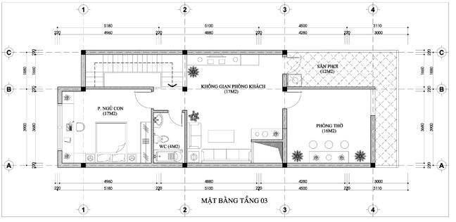 Mặt bằng công năng của thiết kế nhà ống 3 tầng kết hợp kinh doanh - 3
