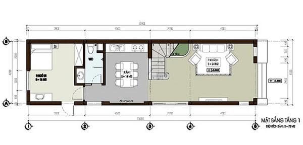 Mặt bằng thiết kế nhà ống 3 tầng khỏe khoắn và hiện đại - 1
