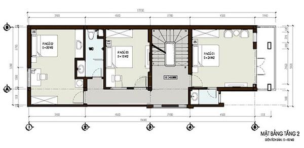 Mặt bằng thiết kế nhà ống 3 tầng khỏe khoắn và hiện đại - 2