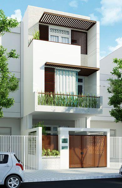 Mặt tiền mẫu thiết kế nhà ống đẹp 3 tầng lệch ở Thái Bình